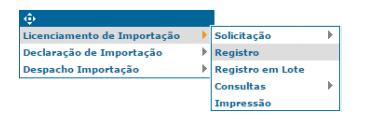 licença de importação registro