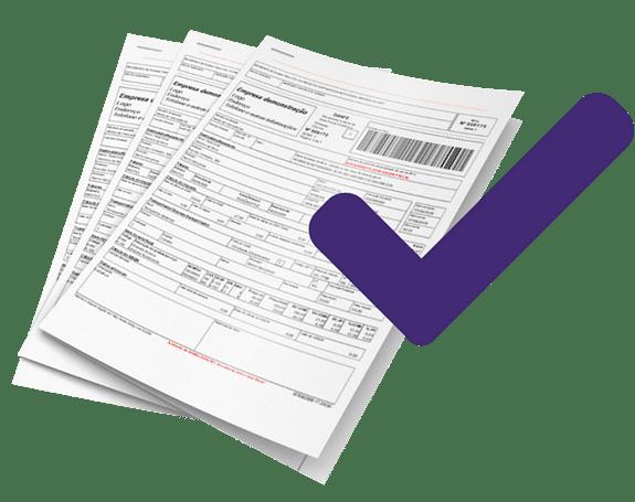 Notas fiscais com um check roxo
