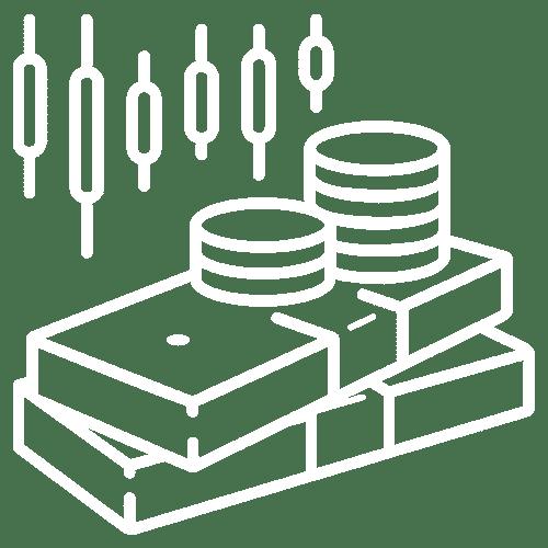 ícone de barras de ouro e moedas