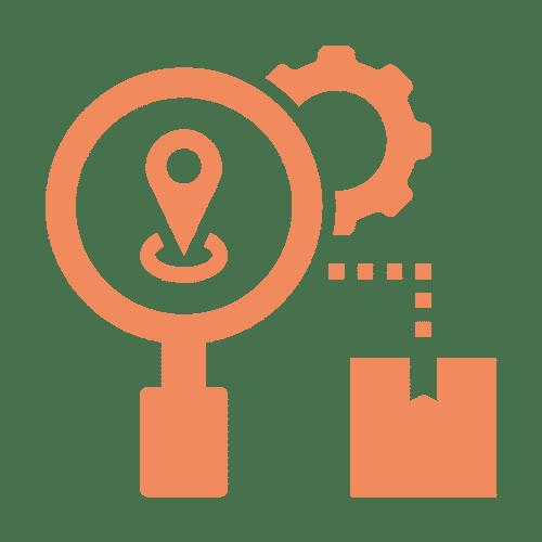 ícone de mapa e engrenagem