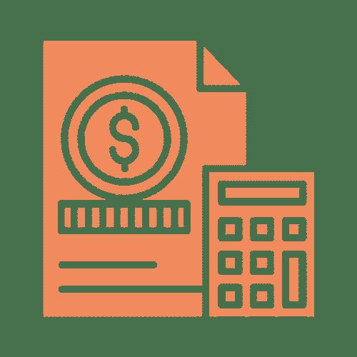 ícone de documento e calculadora
