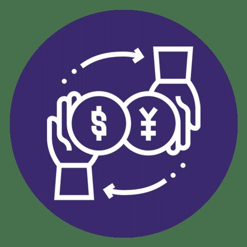 ícone de mãos trocando moeda