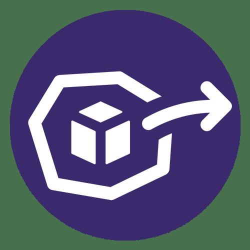 ícone de hexágono com seta