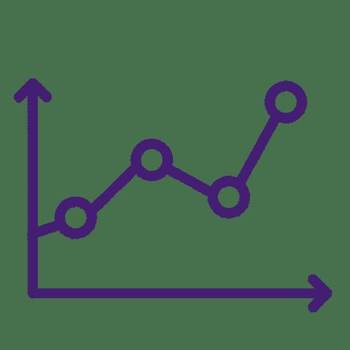 icone de um gráfico roxo