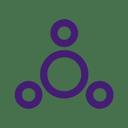 icone de um circulo maior roxo e 3 circulos roxos menores em volta